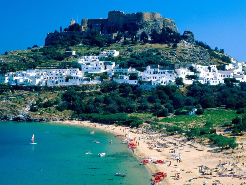 Rhodes Island The white town Lindos - Greece